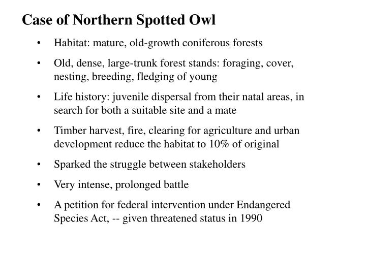Case of Northern Spotted Owl