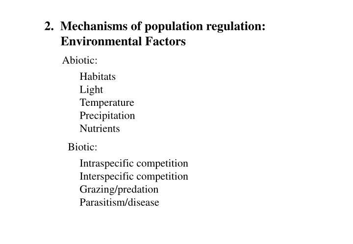 2.  Mechanisms of population regulation: Environmental Factors