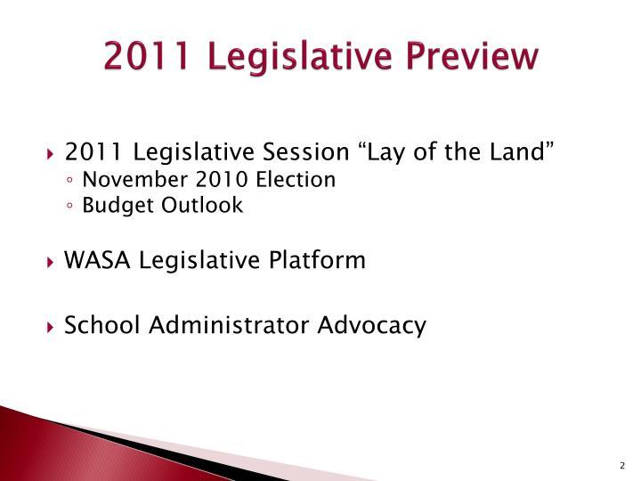 2011 Legislative Preview
