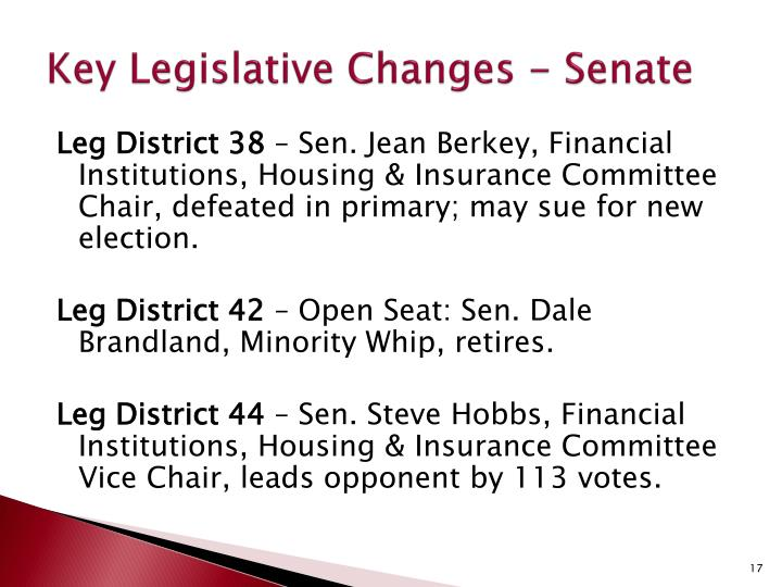 Key Legislative Changes - Senate