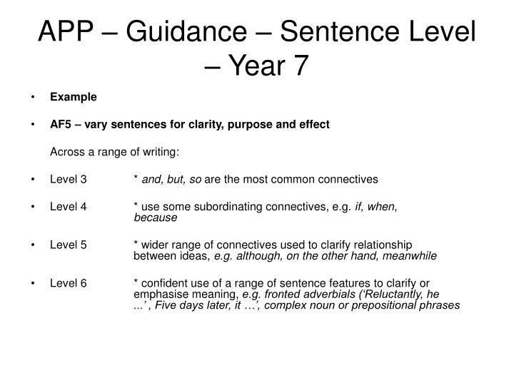 APP – Guidance – Sentence Level – Year 7