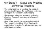 key stage 1 status and practice of phonics teaching