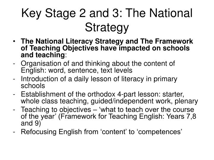 Key Stage 2 and 3: The National Strategy
