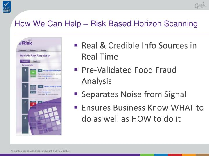 How We Can Help – Risk Based Horizon Scanning