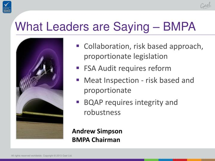 What Leaders are Saying – BMPA