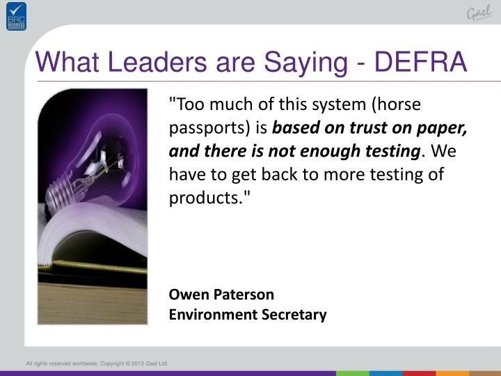 What Leaders are Saying - DEFRA