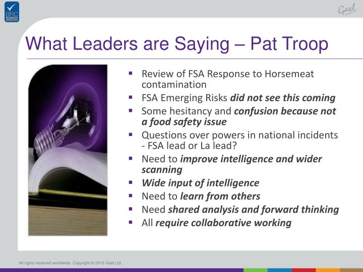 What Leaders are Saying – Pat Troop
