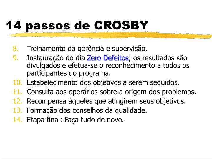 14 passos de CROSBY