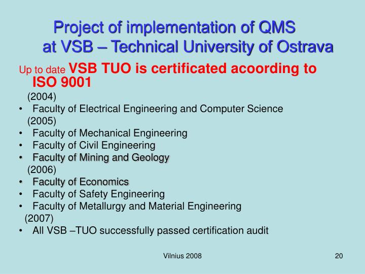 Project of implementation of QMS