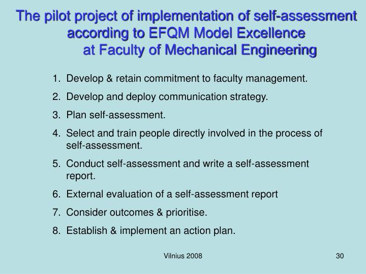 The pilot project of implementation of self-assessment according to