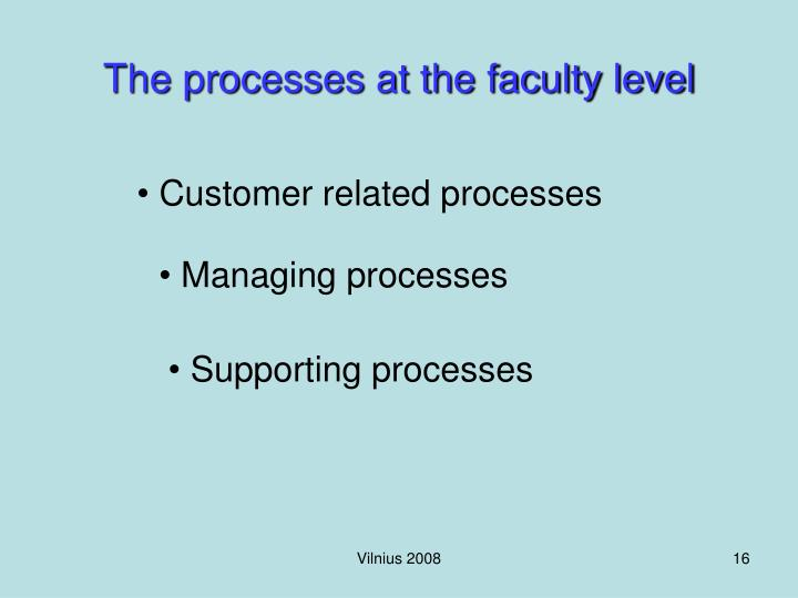 The processes at the faculty level