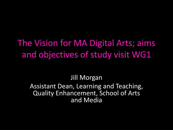 The vision for ma digital arts aims and objectives of study visit wg1