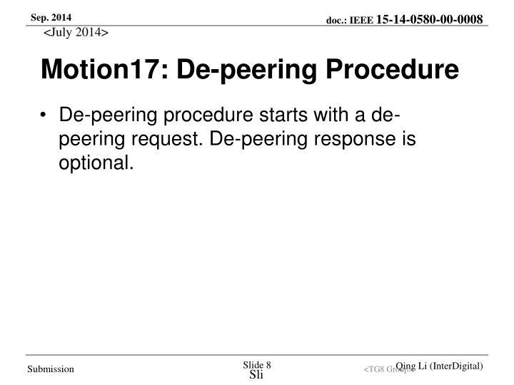 Motion17: De-peering Procedure