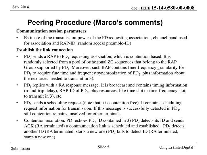 Peering Procedure (Marco's comments)