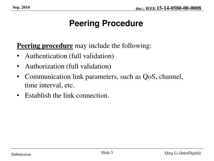 Peering Procedure