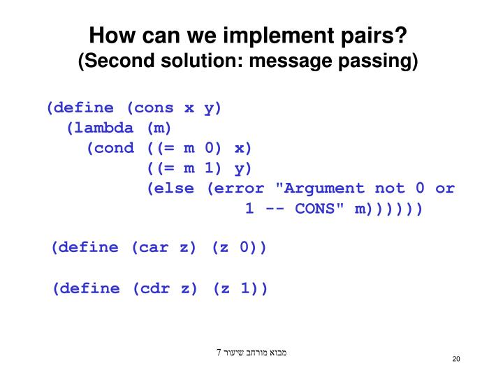 How can we implement pairs?