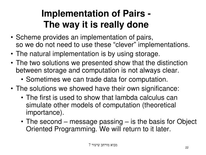 Implementation of Pairs -