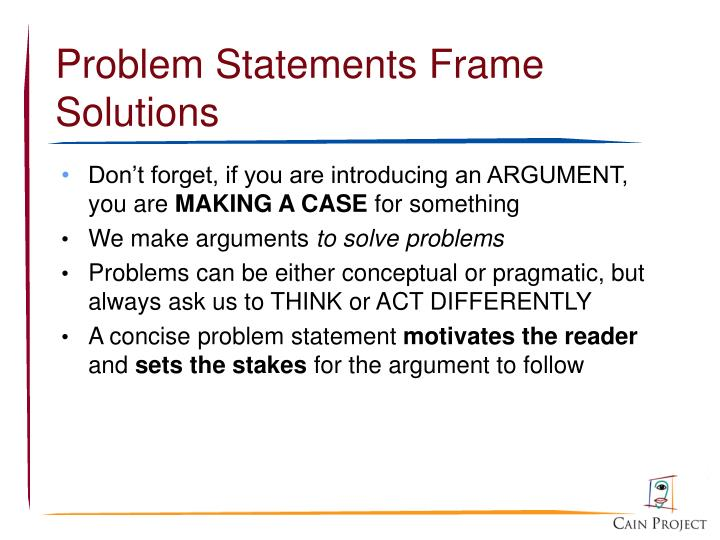 Problem Statements Frame Solutions