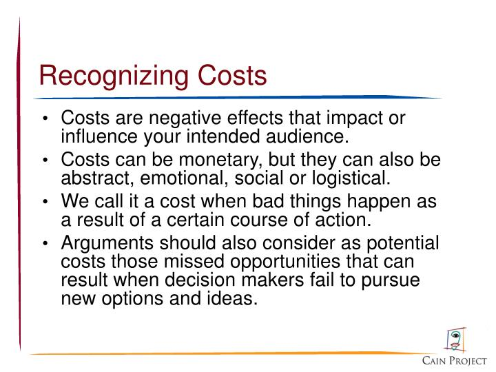 Recognizing Costs