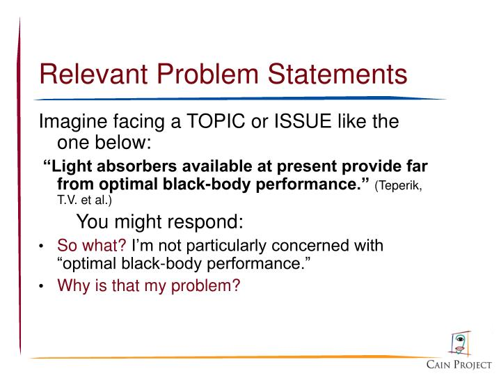 Relevant Problem Statements
