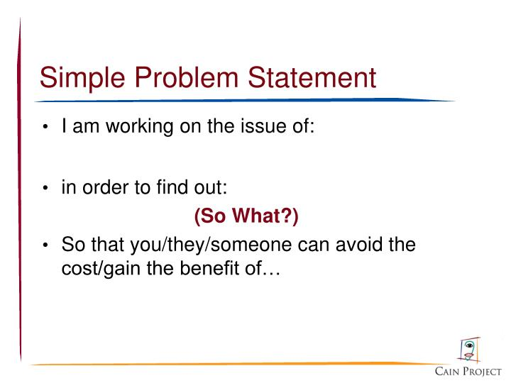 Simple Problem Statement