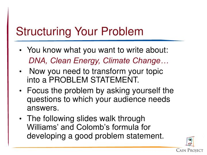 Structuring Your Problem