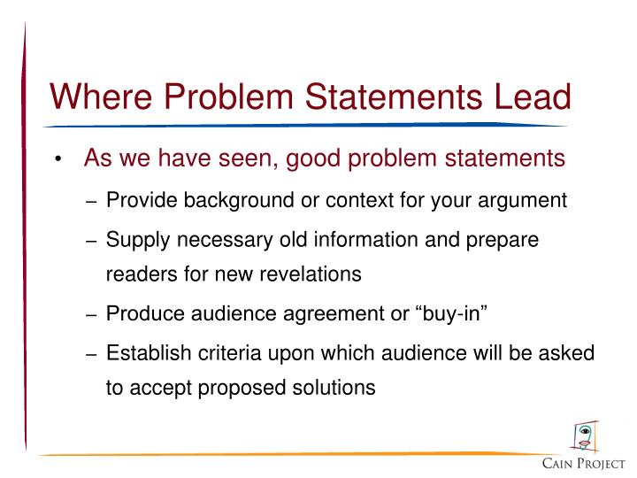 Where Problem Statements Lead