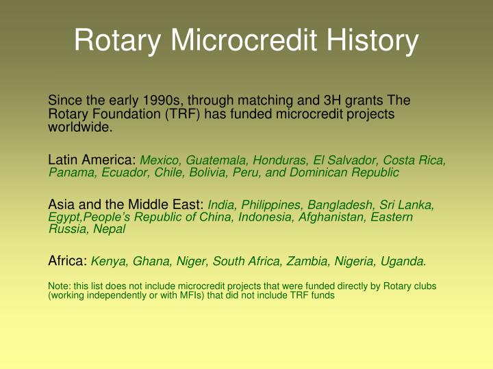 Rotary Microcredit History