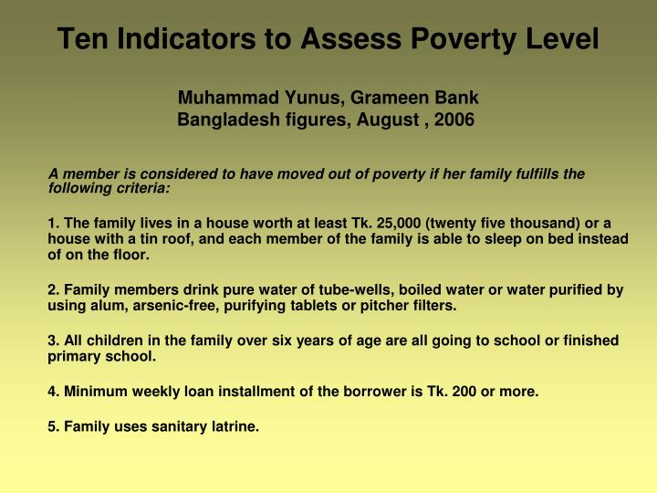 Ten Indicators to Assess Poverty Level