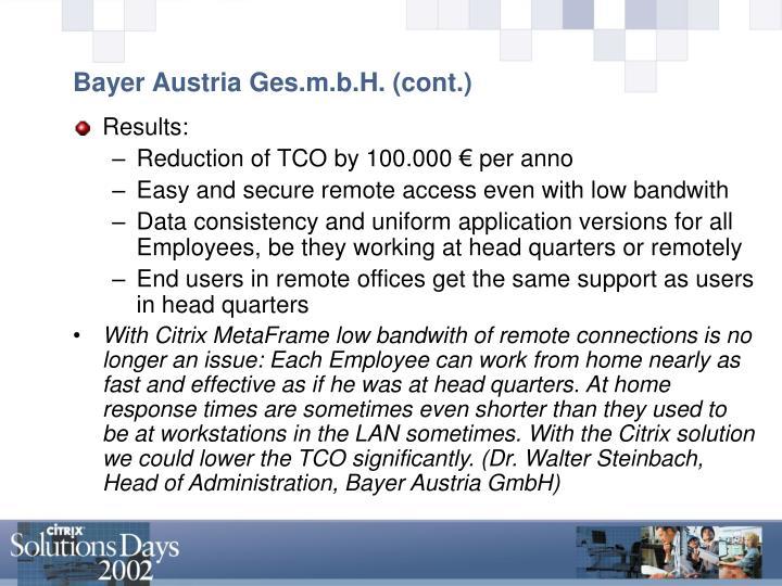 Bayer Austria Ges.m.b.H. (cont.)