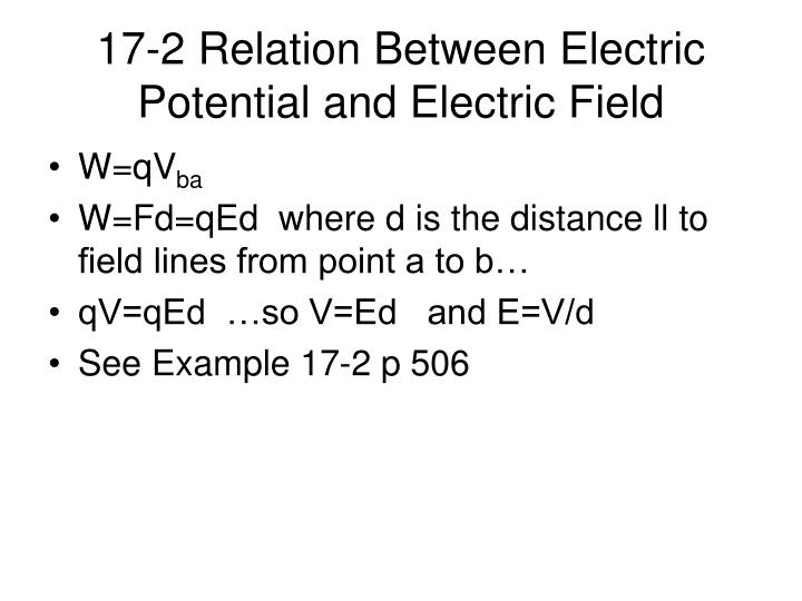 17-2 Relation Between Electric Potential and Electric Field