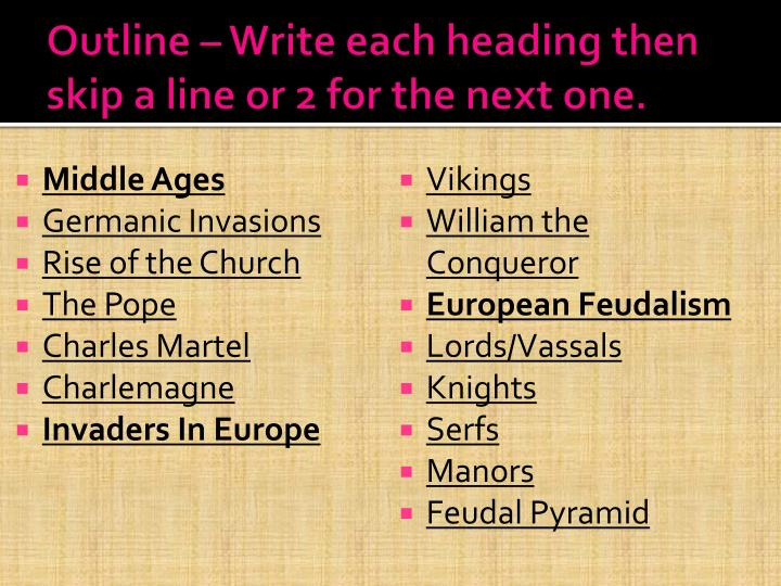 Outline – Write each heading then skip a line or 2 for the next one.