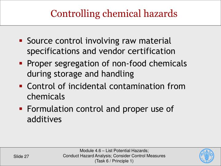 Source control involving raw material specifications and vendor certification