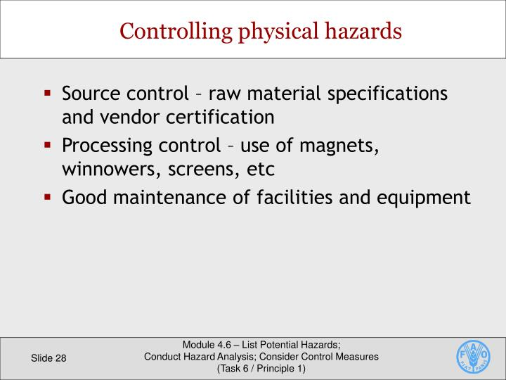 Source control – raw material specifications and vendor certification