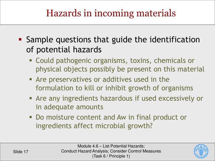 Sample questions that guide the identification of potential hazards