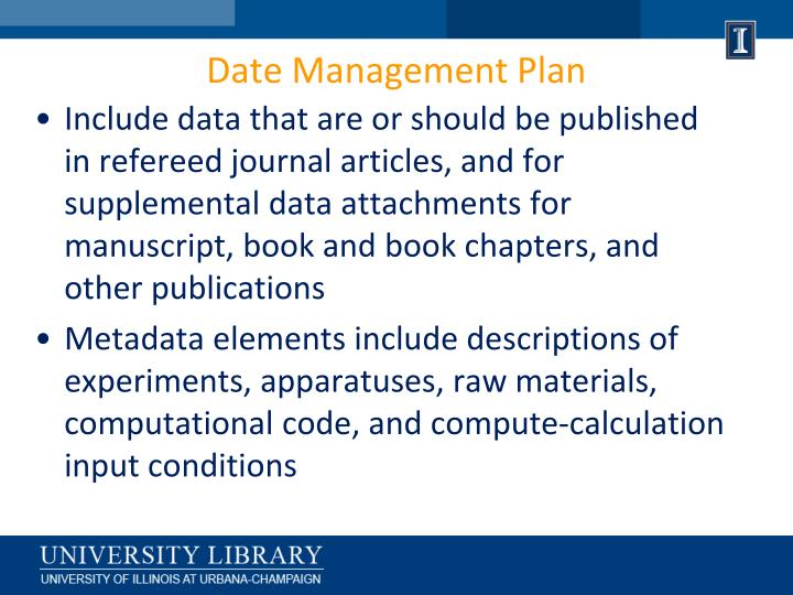 Date Management Plan