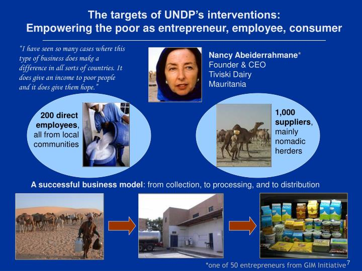 The targets of UNDP's interventions: