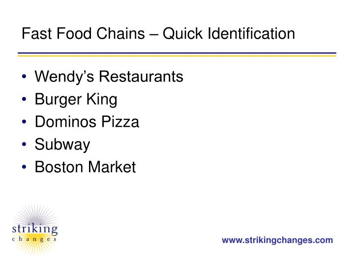 Fast Food Chains – Quick Identification