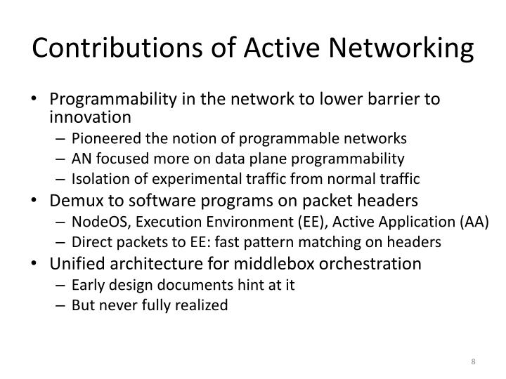 Contributions of Active Networking