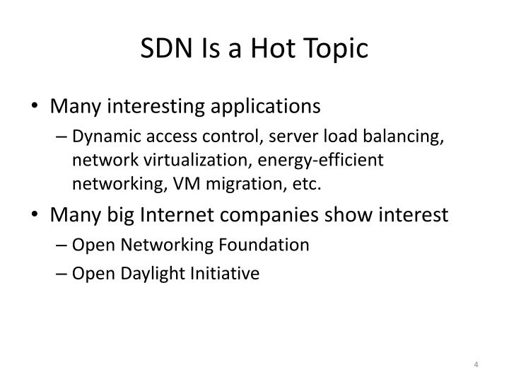 SDN Is a Hot Topic