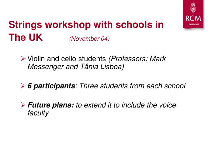 Strings workshop with schools in