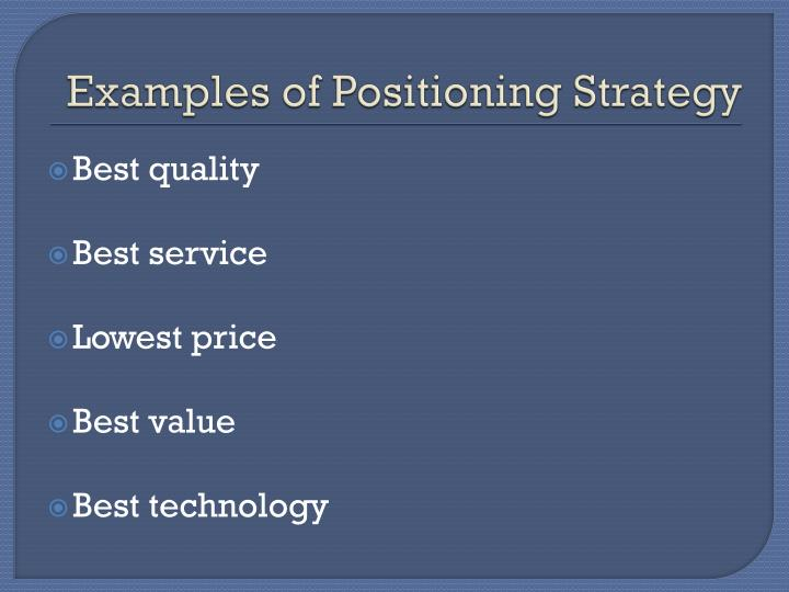Examples of Positioning Strategy
