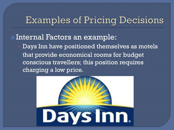 Examples of Pricing Decisions