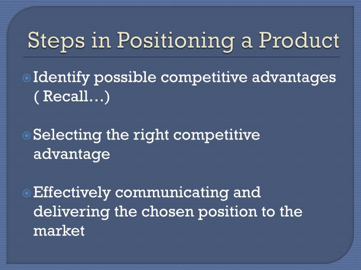 Steps in Positioning a Product