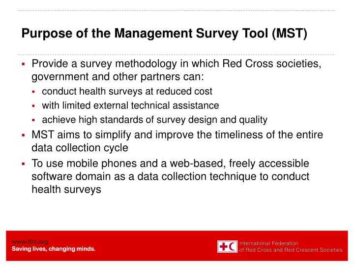 Purpose of the Management Survey Tool (MST)