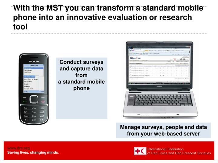 With the MST you can transform a standard mobile phone into an innovative evaluation or research tool