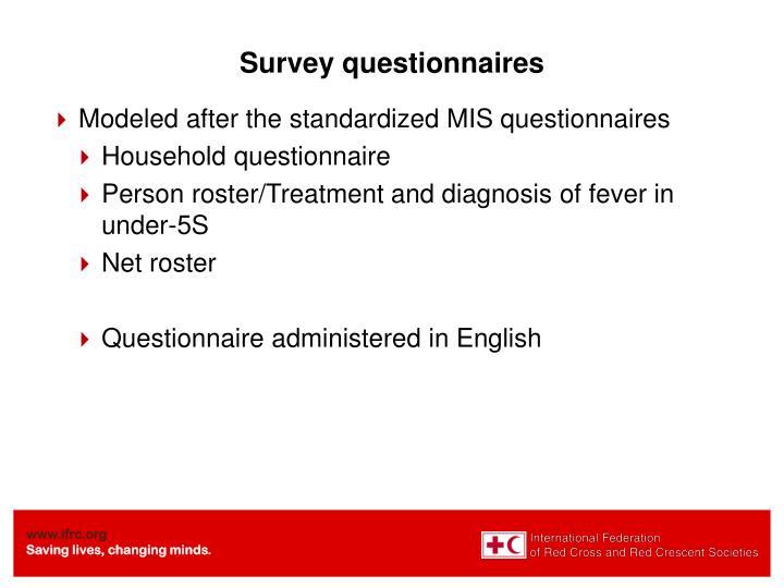 Survey questionnaires