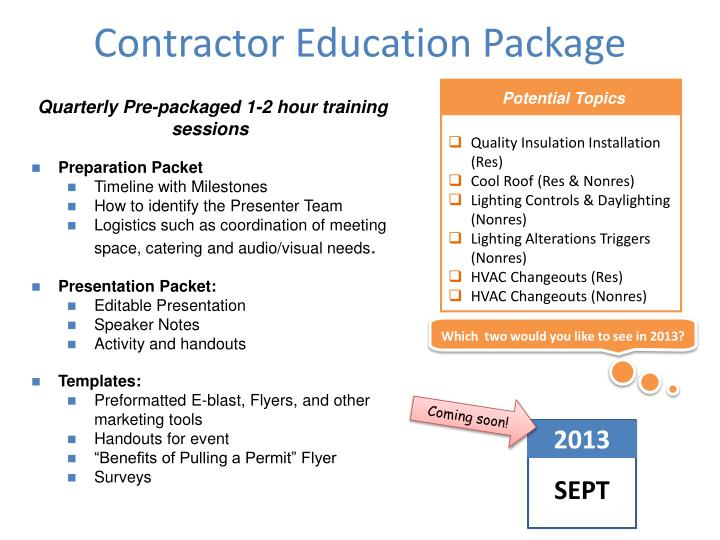 Contractor Education Package