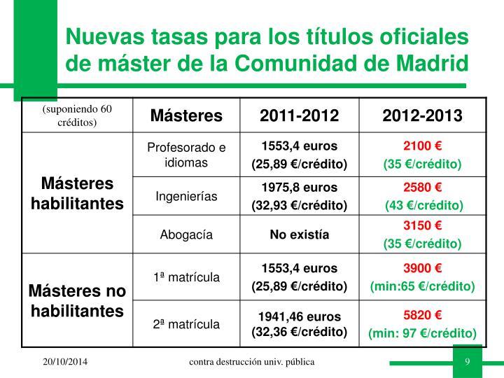 Nuevas tasas para los títulos oficiales de máster de la Comunidad de Madrid
