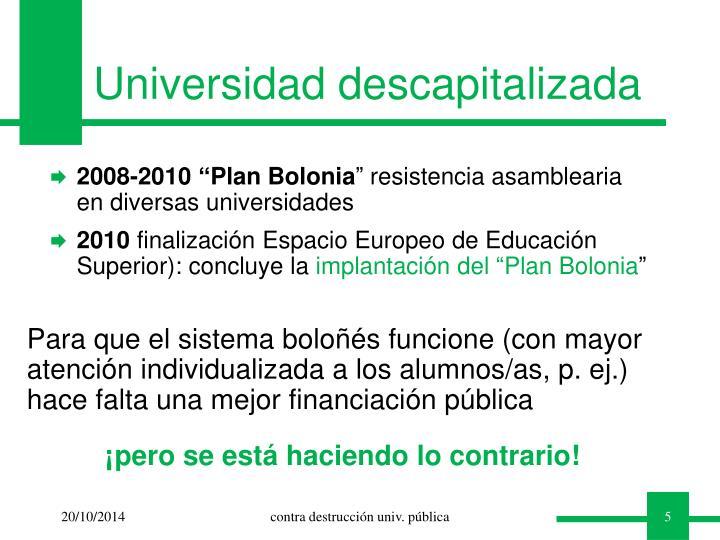 Universidad descapitalizada